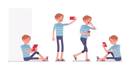 Joven con diferentes gadgets Ilustración de vector
