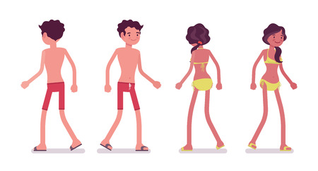 Young man and woman wearing summer beach outfit enjoying seaside vacations, tanned skin, walking pose. Front and rear view. Vector flat style cartoon illustration, isolated, white background
