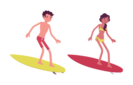 Young man and woman wave riders professionals in summer beach outfit, enjoying seaside vacations, water sport, tanned skin, surfing. Vector flat style cartoon illustration, isolated, white background Stock Photo