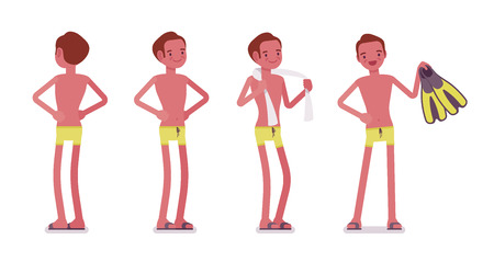 Young slim man in swimming trunks, tanned complexion, enjoying seaside summer holiday at beach resort, standing. Front and rear view. Vector flat style cartoon illustration, isolated, white background
