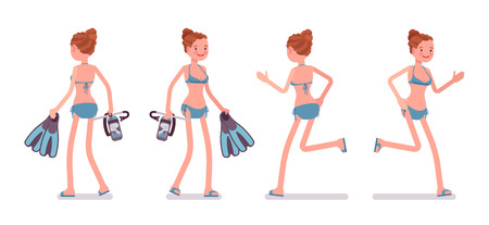 Young slim woman with flippers and mask, in swimming bikini, tanned complexion, enjoying holiday, walking, running. Front, rear view. Vector flat style cartoon illustration, isolated, white background Stock Photo