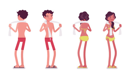 enjoying: Young man and woman in summer beach outfit enjoying seaside vacations, tanned skin, standing pose, with towel. Front and rear view. Vector flat style cartoon illustration, isolated, white background