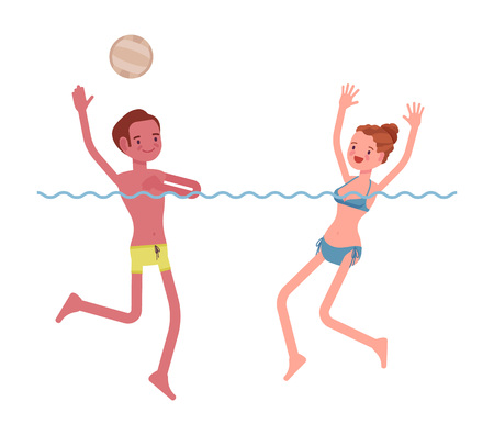 Young slim man, woman playing water polo, swimming wear, tanned complexion, enjoying summer activity, splashing in water, having fun. Vector flat style cartoon illustration, isolated, white background