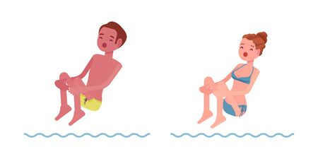 jumping into water: Male and female swimmer jumping into water, cannon ball, classic pool and sea swimming summer sport activity, lessons for safe fun. Vector flat style cartoon illustration, isolated, white background