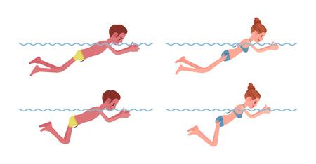 Male and female swimmer in breaststroke swimming style set Lizenzfreie Bilder