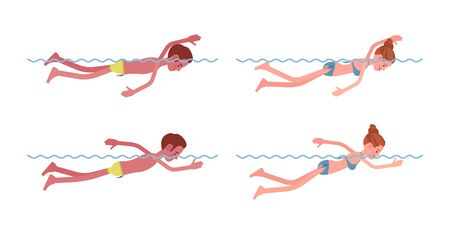 Male and female swimmer in free swimming style set