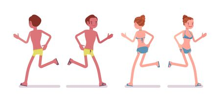 Running young tanned man and woman