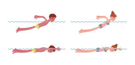 Male and female swimmer in butterfly swimming style set Lizenzfreie Bilder
