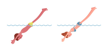 Male and female swimmer completing the jump illustration. Çizim