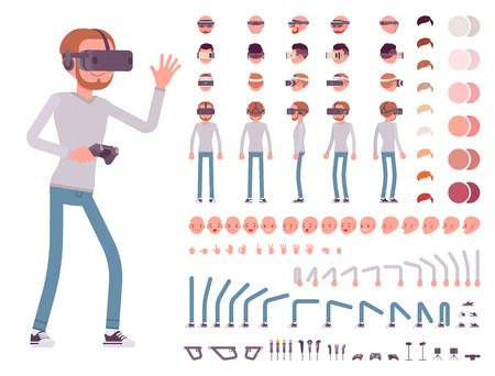 Man in Virtual Reality headset. Character creation set