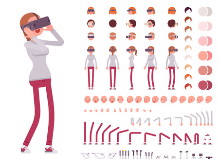 Woman in Virtual Reality headset. Character creation set