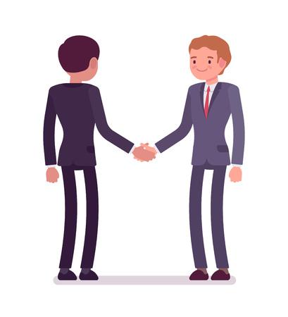 Zakelijke partners handshaking. Mannen in formele slijtage, handvatten met elkaar, interviewende vergadering, feliciteren met goede deal. Office etiquette concept. Vector platte stijl cartoon illustratie, geïsoleerd, op wit