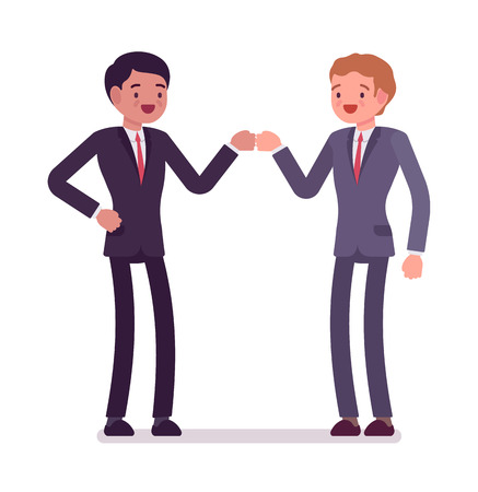 Businessmen fist bump. Partners in formal wear, knuckles gesture, approval, greeting or celebration. Office etiquette concept. Vector flat style cartoon illustration, isolated, white background