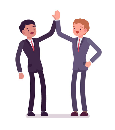 Business partners giving high five. Men hearty greeting each other, celebrate victory, mutual cooperation. Office etiquette concept. Vector flat style cartoon illustration, isolated, white background Illustration