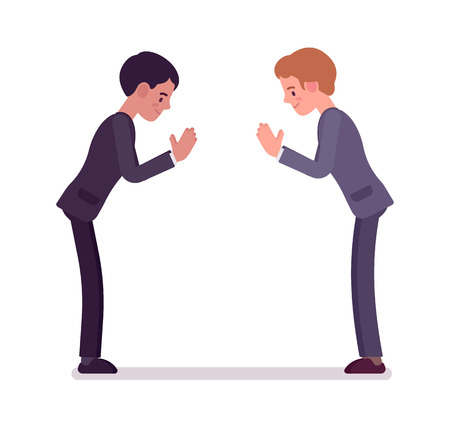 manner: Business partners giving a bow. Men in formal wear greeting in Japanese manner protocol, polite salutation. Office etiquette concept. Vector flat style cartoon illustration, isolated, white background