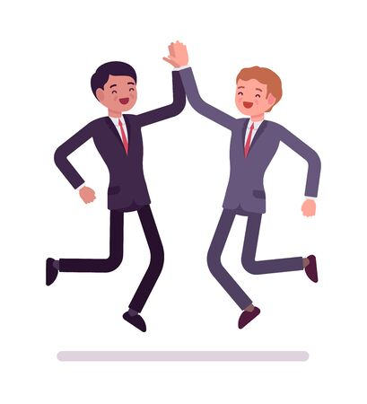 Businessmen high five jumping Stock Photo