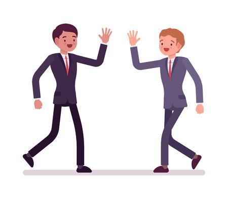 Businessmen happy greeting