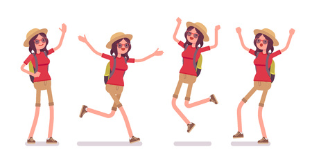 Tourist woman positive emotions. Lady wearing comfy outfit, happy with foreign tour, good travel agency service, pleasant journey. Vector flat style cartoon illustration, isolated, white background