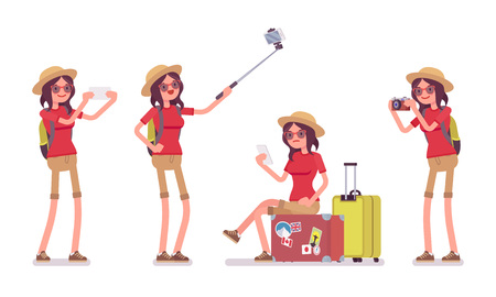 Tourist woman with gadgets. Lady wearing comfy travel outfit, taking pictures with camera, making selfie, trip photography for blog. Vector flat style cartoon illustration, isolated, white background