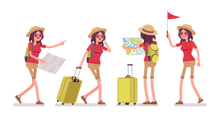 Tourist woman in trip situations. Lady wearing comfy travel outfit, lost, missing in a landmark tour, map checking, red flag holding. Vector flat style cartoon illustration, isolated, white background