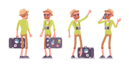 Tourist man with luggage, wearing shorts and shirt combo, planning backpacking trip. Standing pose, hitchhiker thumb, phone talking. Vector flat style cartoon illustration, isolated, white background Illustration