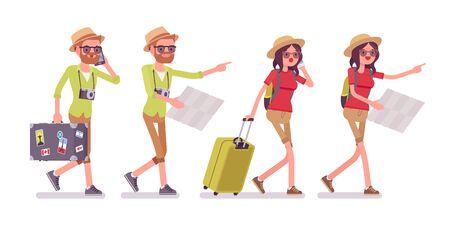 Toeristenman en vrouw die met kaart lopen Stockfoto