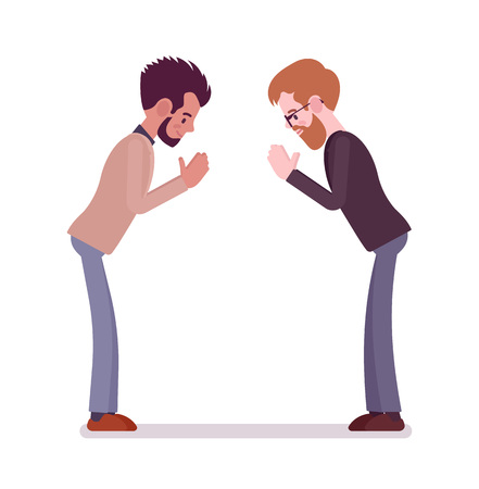 Businessmen bow gesture. Greeting, openness and honesty, nonverbal communication and body language. Formal manners concept. Vector flat style cartoon illustration, isolated, white background