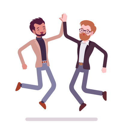 Businessmen highfive jumping
