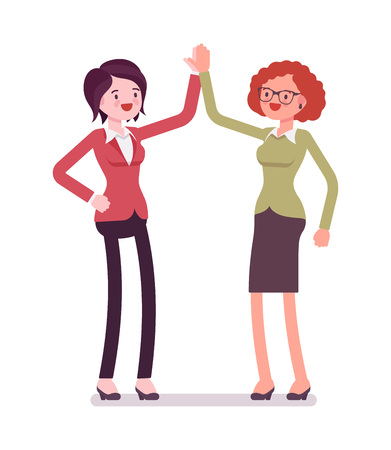 Businesswomen, congratulating on success, professional development, deal, informal way. Business relations concept. Vector flat style cartoon illustration, isolated, white background
