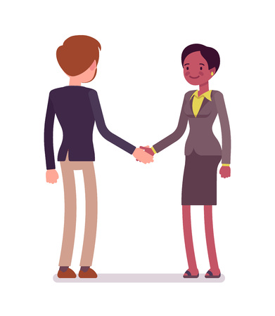 interracial: Businessman and businesswoman handshake Illustration