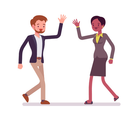 Businessman and businesswoman greeting