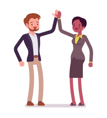 Businessman and businesswoman highfive gesture