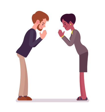 Businessman and businesswoman bow gesture Illustration