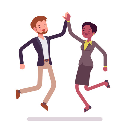 Businessman and businesswoman highfive jumping