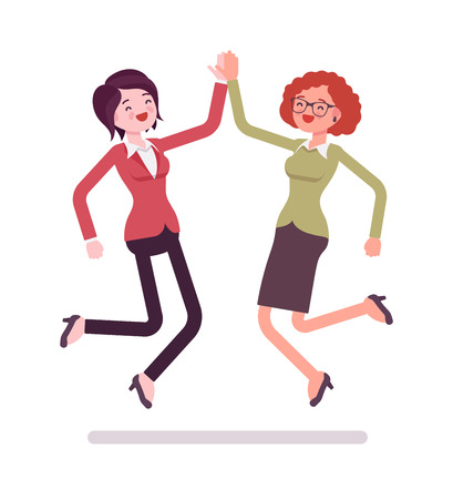 Businesswomen highfive jumping. Sharing excitement, happy with profit or creative idea. Business relations concept. Vector flat style cartoon illustration, isolated, white background Stok Fotoğraf - 82897260