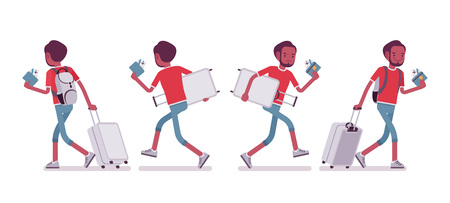 Black male tourist walking and running Illustration
