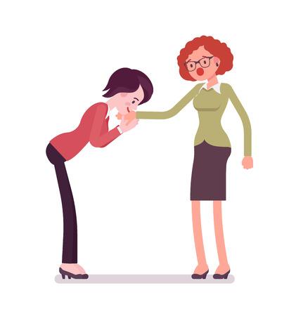 Businesswomen hand kiss gesture