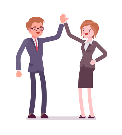 manner: Business male and female partners giving high five Illustration