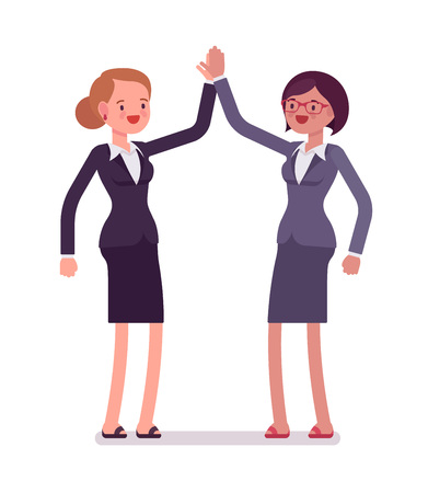 manner: Business female partners giving high five