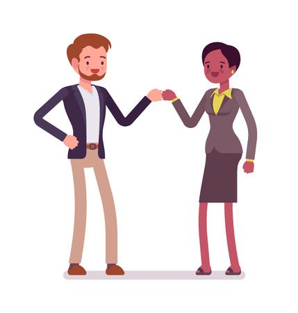 Businessman and businesswoman fist bump