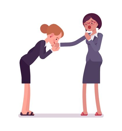 Business female hand kiss gesture
