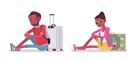 canceled: Black male and female tourist floor sitting Illustration