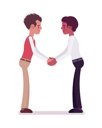Male clerks handshaking with both hands