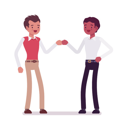 manner: Male clerks fist bump