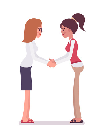 Female clerks handshaking with both hands