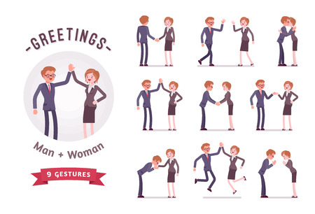 Business people greeting character set, various poses and emotions