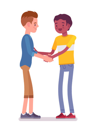 Young men handshaking with both hands Illustration