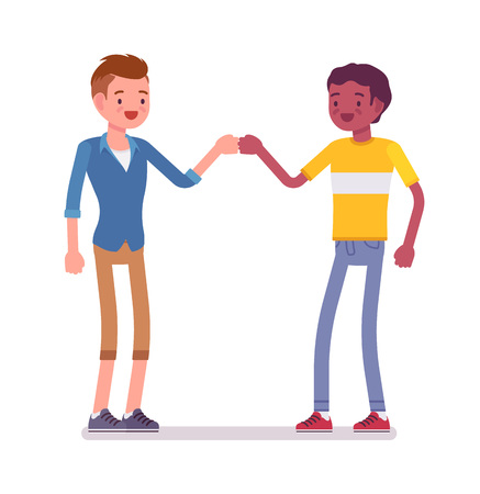 Young men fist bump gesture. Informal salutation. Friendship and communication concept. Vector flat style cartoon illustration, isolated, white background
