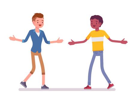 smart boy: Young men meeting with open hands. Surprised seeing a close friend after long time. Friendship and communication concept. Vector flat style cartoon illustration, isolated, white background