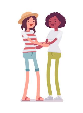 Young women friendship hug Illustration